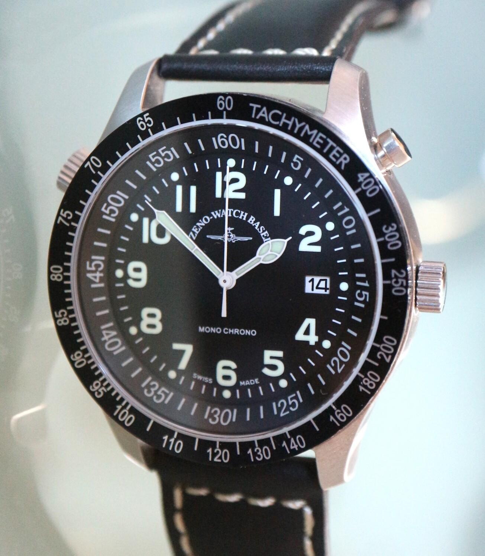 Zeno Watch Minutes Timer Monochrono (Monopusher) – Limitierte Edition - 2 Jahre Garantie, inkl. Uhrenbeweger!