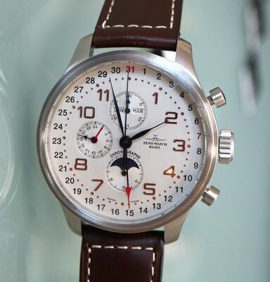 Zeno Watch OS Retro Chronograph mit Vollkalender – 2 Jahre Garantie, inkl. Uhrenbeweger!