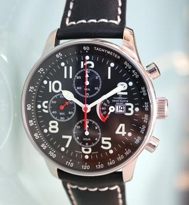 Zeno Watch X-Large Retro Chronograph mit Gangreserve und Tachymeterskala – 2 Jahre Garantie, inkl. Uhrenbeweger
