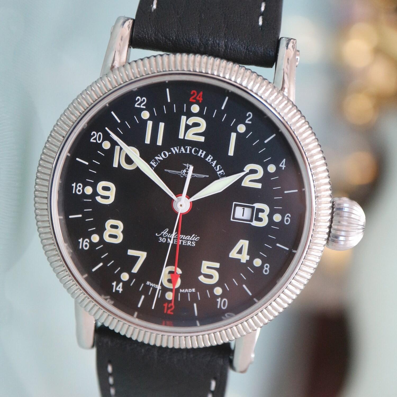 Zeno Watch Vintage Style Nostalgia XL GMT Dualtime  – 2 Jahre Garantie, inkl. Uhrenbeweger!