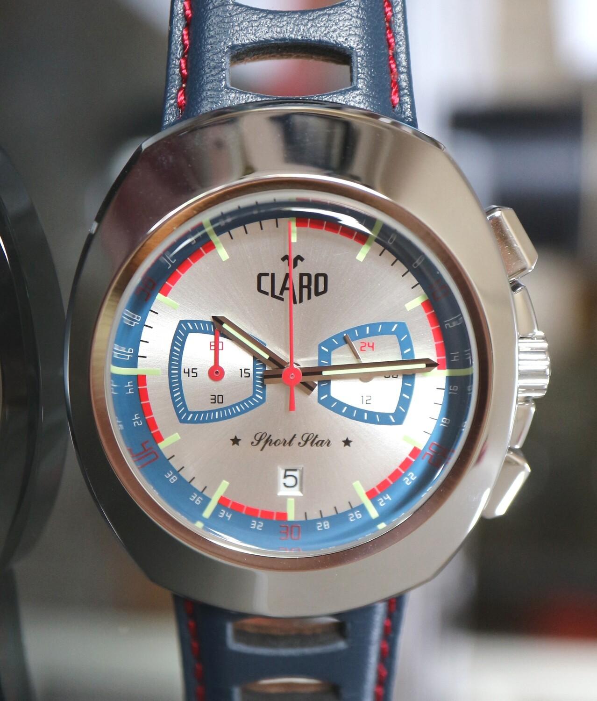 "CLARO Quartz ""Sport Star"" Chronograph Stahl mit silbernem Zifferblatt"
