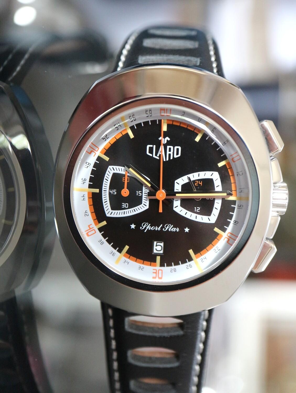 "CLARO Quartz ""Sport Star"" Chronograph Stahl mit schwarzem Zifferblatt"