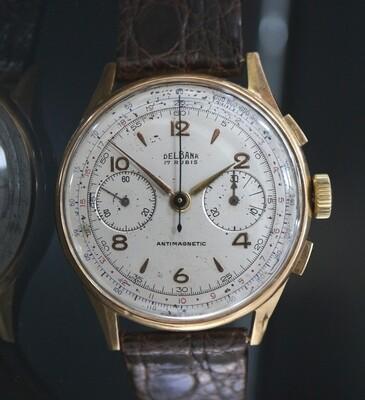 Vintage Delbana Chronograph in 18 Karat Roségold, ca. 50er Jahre