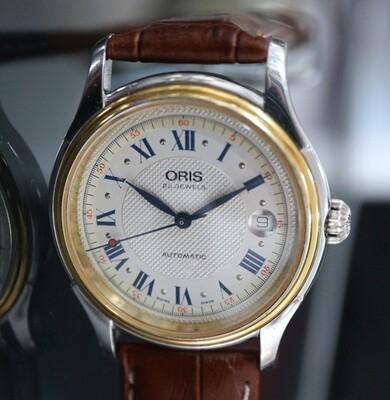 Oris Automatik Ref. 7375, Stahl/vergoldet, mit Datum, 90er Jahre