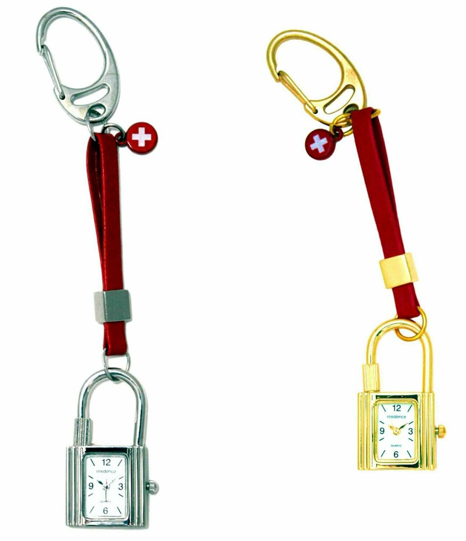 Schlüssel-Anhänger mit Uhr - Sujet Schloss