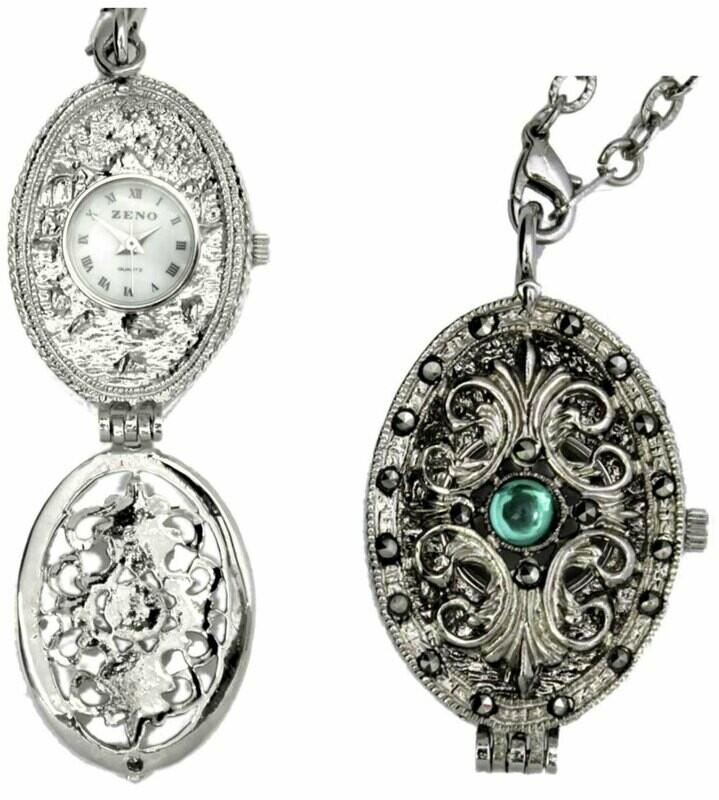 Halskette mit Medaillon und Uhr