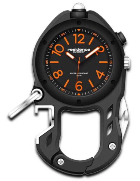 Karabiner-Uhr Outdoor Aluminium, schwarz