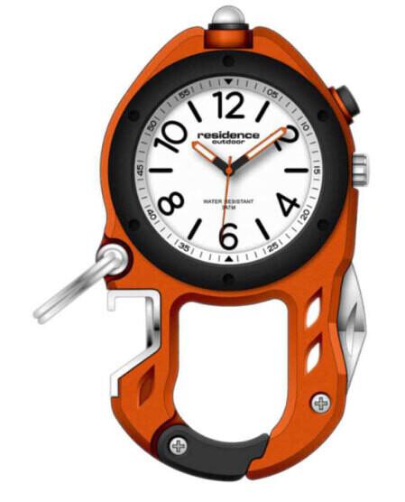 Karabiner-Uhr Outdoor Aluminium, orange