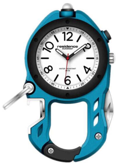 Karabiner-Uhr Outdoor Aluminium, blau