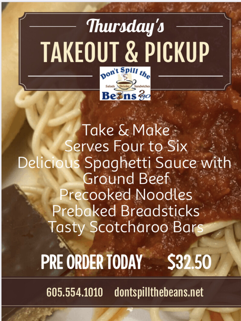 THURSDAY ONLY! Take Out Pre-orders