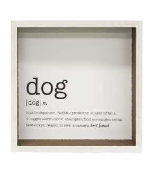 Dog Definition Shadow Box Sign