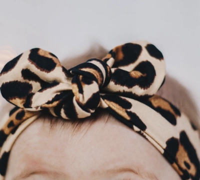 Knot Bow Headband - Latte Cheetah - Toddler