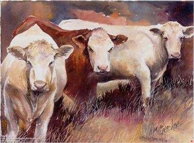 Cows Painting - Marian Sprecher
