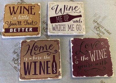 Assorted Wine Coasters - Tan (4 pack)