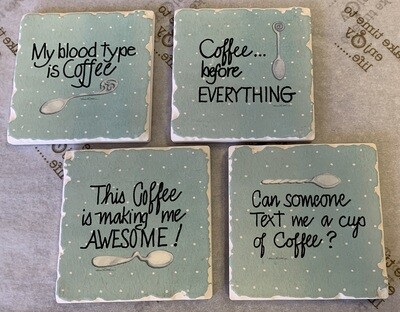 Assorted Coffee Coasters - Blue (4 pack)