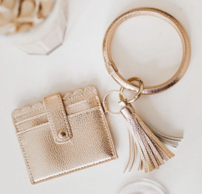 Cardholder with Keyring Bangle and Tassle - Black, Small Leopard, and Rose Gold