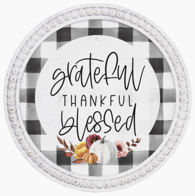 Grateful Thankful Plaid Sign