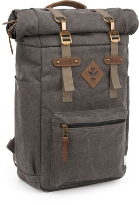 Revelry Supply The Drifter Crosshatch Grey Carbon-Lined Rolltop Backpack