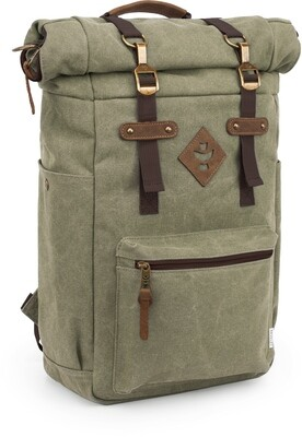 Revelry Supply The Drifter Green Carbon-Lined Rolltop Backpack