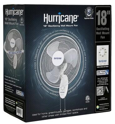 Hurricane Supreme Oscillating 3036 CFM Wall Mount Fan 3 speeds 18 inch