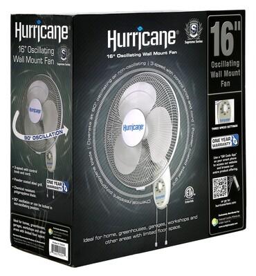 Hurricane Supreme Oscillating 2118 CFM Wall Mount Fan 3 speeds 16 inch