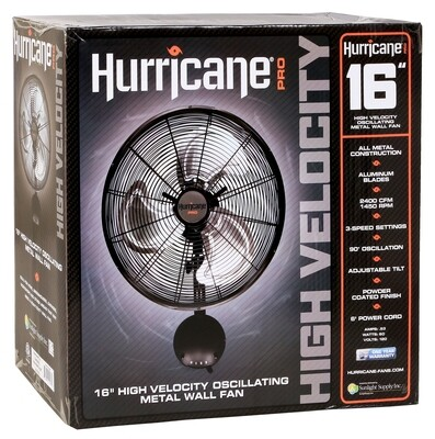 Hurricane Pro High Velocity Oscillating Metal Heavy Duty Wall Mount Fan 16 inch