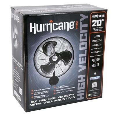 Hurricane Pro High Velocity Oscillating Metal Heavy Duty 4500 CFM Wall Mount Fan 3 speeds 20 inch