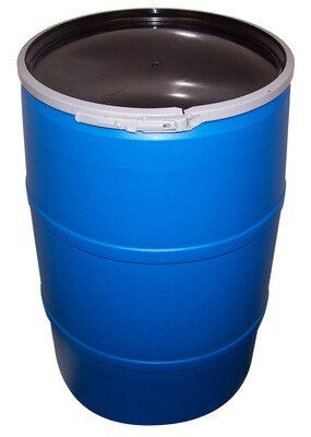 Round Vertical Drum Black Barrel Reservoir Food-Grade BPA-Free with Lid 55 gallon