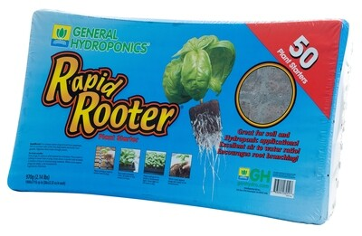 General Hydroponics GH Rapid Rooter Prefilled 50 cell Plug Tray with Plugs & Insert 10x20 inch tray 1.5 inch cell