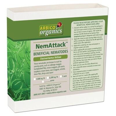 Arbico Organics NemAttack Beneficial Steinernema carpocapsae Nematodes 1/2 Garden = 1600sqft 5,000,000 unit