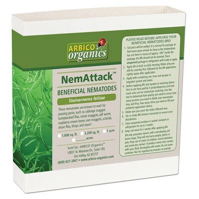 Arbico Organics NemAttack Beneficial Steinernema feltiae Nematodes Garden = 3200sqft 10,000,000 unit