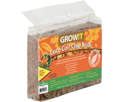GROW!T Coco Chip Brick Expandable Bale Compressed Block