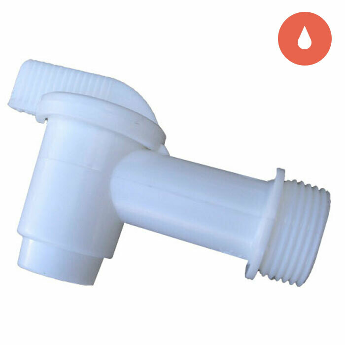 Grow1 White Plastic Threaded Spigot for 5-55 gallon Containers