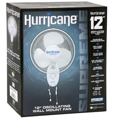 Hurricane Supreme Oscillating 1412 CFM Wall Mount Fan 3 speeds