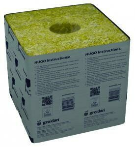 Grodan Delta Hugo Unwrapped with Hole Rockwool Block with Liner single 6x6x6 inch