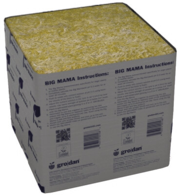 Grodan Delta Big Mama Unwrapped no Hole Rockwool Block with Liner single 8x8x8 inch