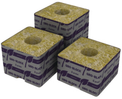 Grodan Delta 4 Unwrapped no Hole Rockwool Block with Liner single 3x3x2.5 inch