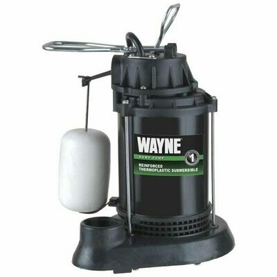 Wayne Vertical Float Switch (mechanical) Thermoplastic Epoxy-Coated Sump Pumps with 8' power cord
