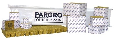Grodan Pargro Quick Drain Wrapped with Hole Rockwool Plug 1.5x1.5x1.5 Sheet of 98