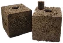 International Horticulture Technologies Square with 45/45 Round Hole Coco Peat Block with Felt Liner Option 6x6x6 inch case of 24