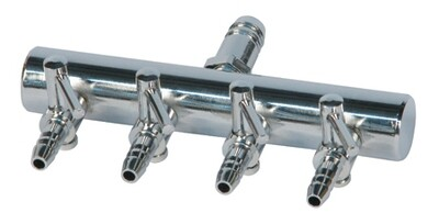 EcoPlus Barbed Chrome Air Manifolds with Individualized Valves 3/8 inch