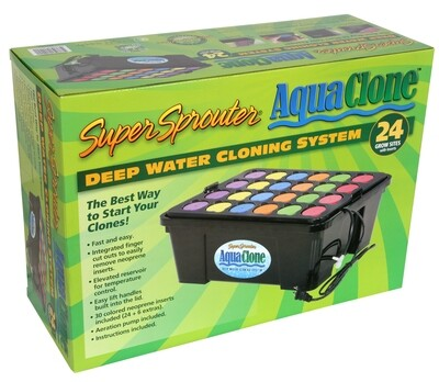 Super Sprouter Aqua Clone 24 site Deep Water Cloner DWC System with 30 Neoprene 2 gallon