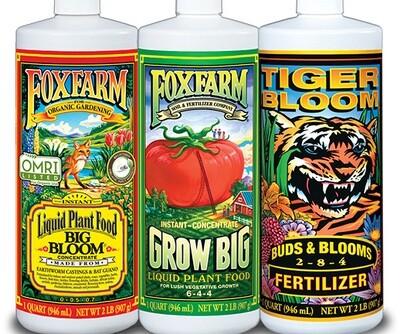 Fox Farm Trio Pack Soil Formula Start Kit 1 quart 3 quart