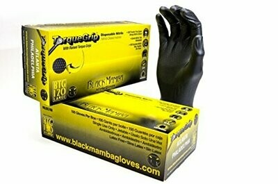 Mamba Black Powder-Free Nitrile Gloves with Raised Torque-Grip 7.5 millimeter 100 /box