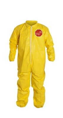 DuPont Breathable Yellow Serged Seam Coveralls with Front Zipper and Elastic Wrists/ Ankles XL 10 millimeter