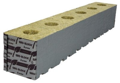 Grodan Delta 10 Unwrapped with Hole Rockwool Block with Liner 4x4x4 inch 6 - Pack