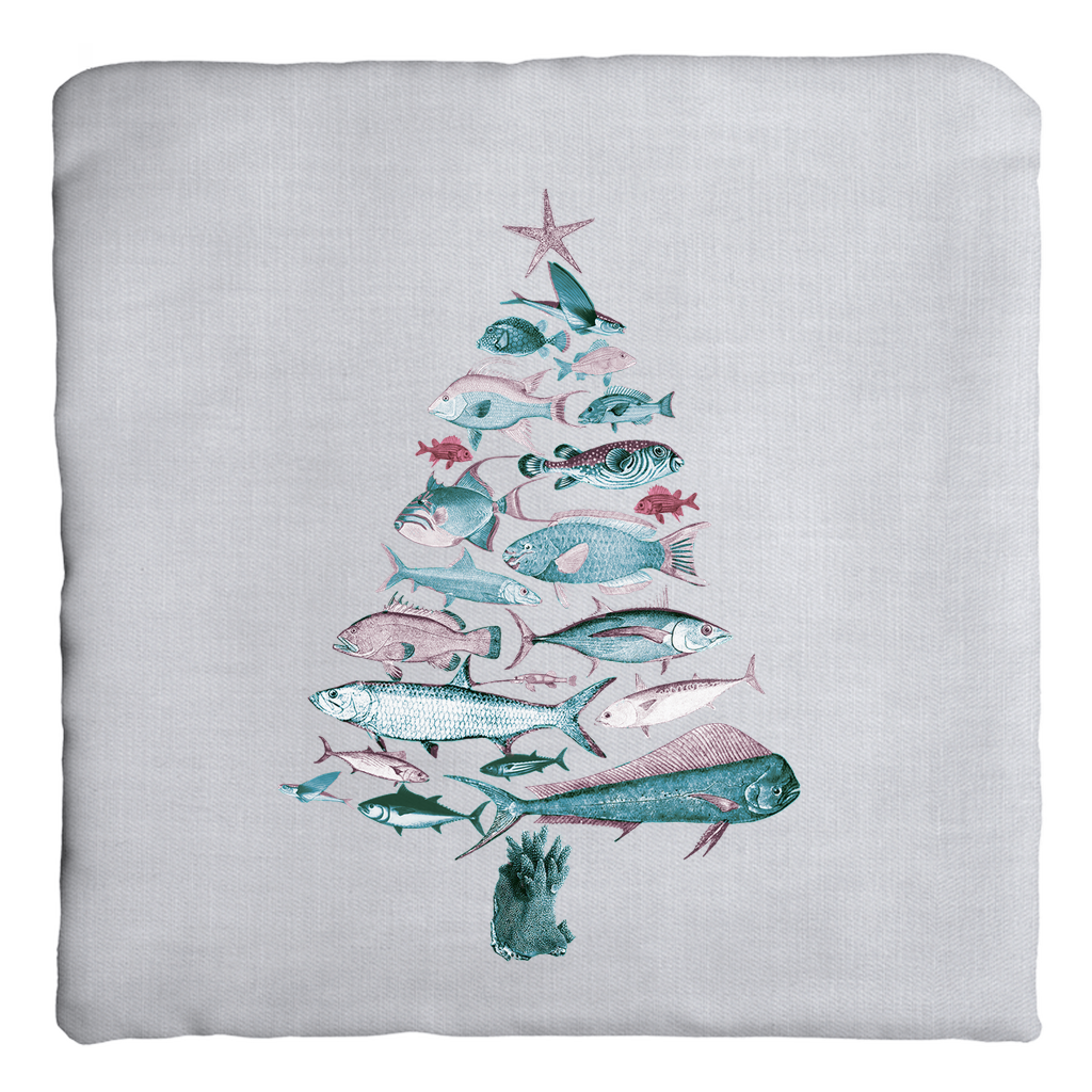 """Fish-Mas"" Tree Zippered Pillow Cover"
