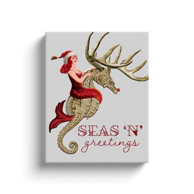 Seas N' Greetings 11x14 Wrapped Canvas Print
