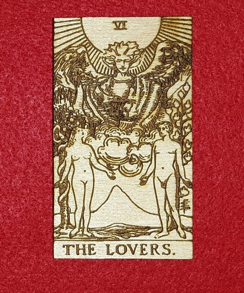 "Engraved Wooden Tarot Card - 2"" x 3"" - The Lovers"
