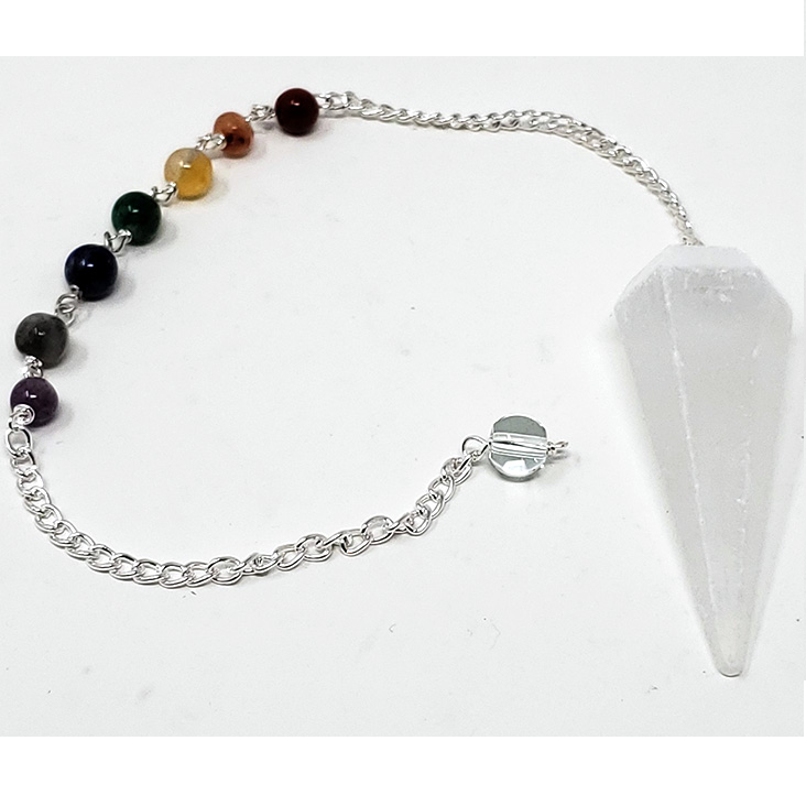 Selenite Pendulum w/ Chakra Chain